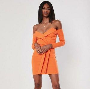 Orange belted Bardot bodycon mini dress
